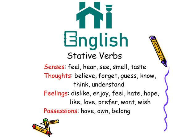 گرامر Stative verbs در زبان انگلیسی